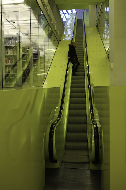 Seattle Public Library Art Green Escalator