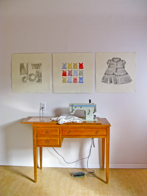 Gallery installation piece titled Sewing Lessons 2014 with sewing machine, etched copper plate, serigraph toddlers dress